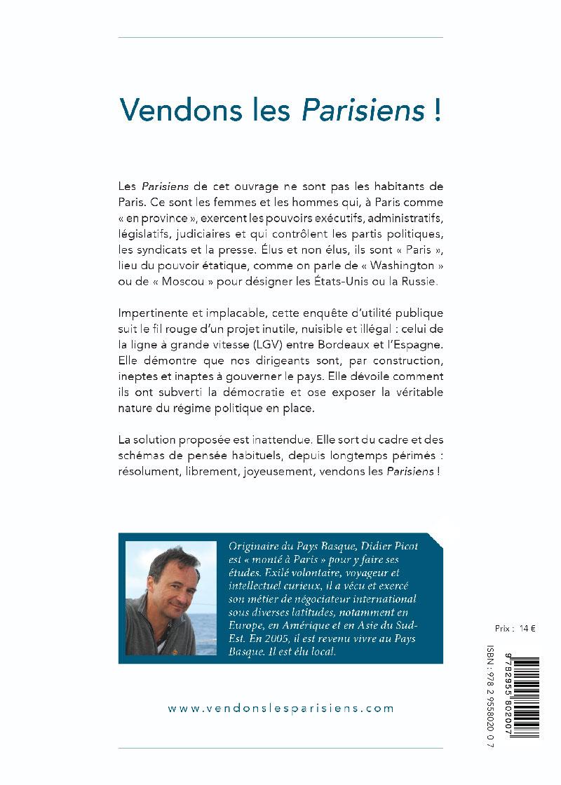 Vendons les Parisiens livre Polémique de Didier Picot